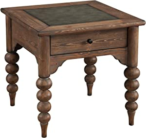 Emerald Home Bern Mist End Table with Storage Drawer, Metal Embossed Top, And Turned Legs