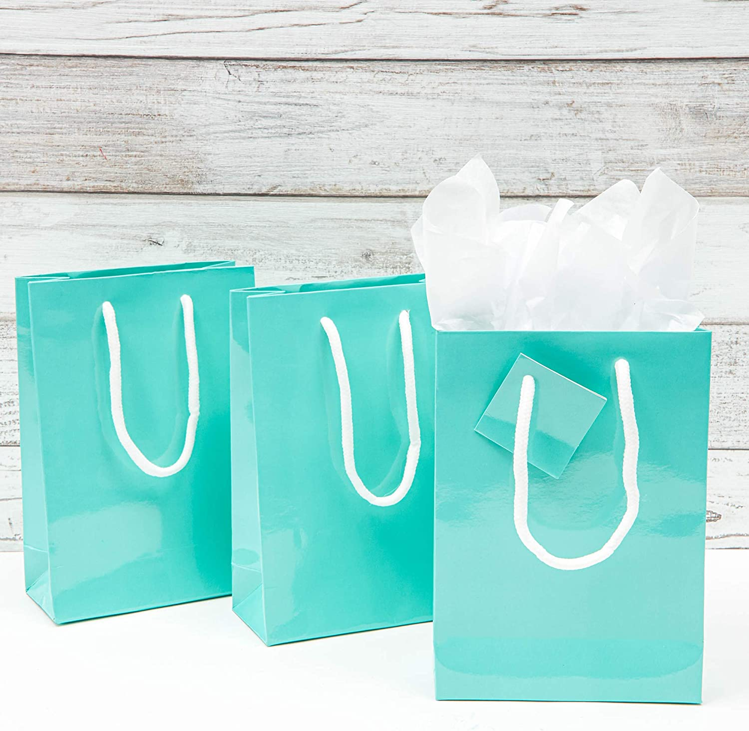 24 VTG Paper Gift Bags 12x9 In Blue Squares Wedding Party Jewelry Boutique Bags