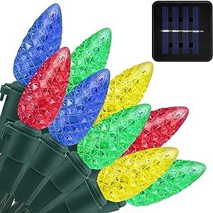 Solar Lights Outdoor C6 Strawberry String Lights, Multicolor LED Fairy Lights 50 LEDs Solar Garden Lights for Tree, Holiday, Arbor Decor (Multicolor, 8 Modes)
