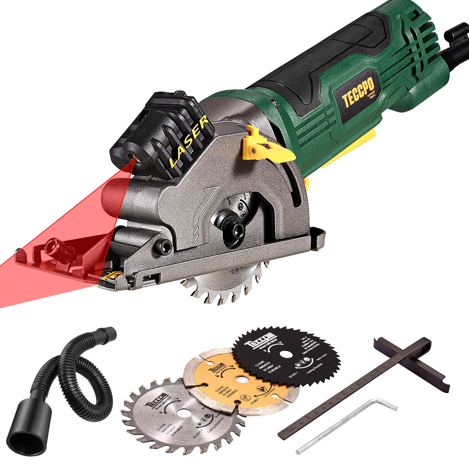 Circular Saw with Laser, TECCPO 4.0A Compact Circular Saw, 3500 RPM 480W Fine Copper Motor, Scale Ruler, 3 Blades for Wood, Tile, Soft Metal and Plastic Cuts / TAPS22P