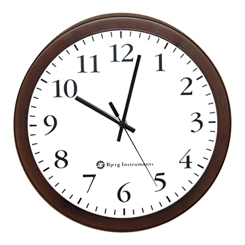 Bjerg Instruments Modern 12 Steel Enclosure Silent Wall Clock with Non Ticking Movement Bronze