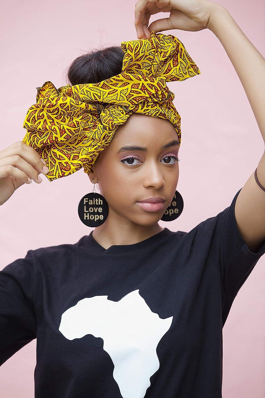 Amazon.com: Headwrap/african print headwrap/turban/Headtie/ankara headscarf/ African headtie/wax print headwrap/headscarf - Yellow and brown: Handmade