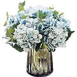 Felice Arts Artificial Silk Flowers California Fake Beautiful Hydrangea Bouquet Flower for Home Wedding Decor, Pack of 3 (Blue)