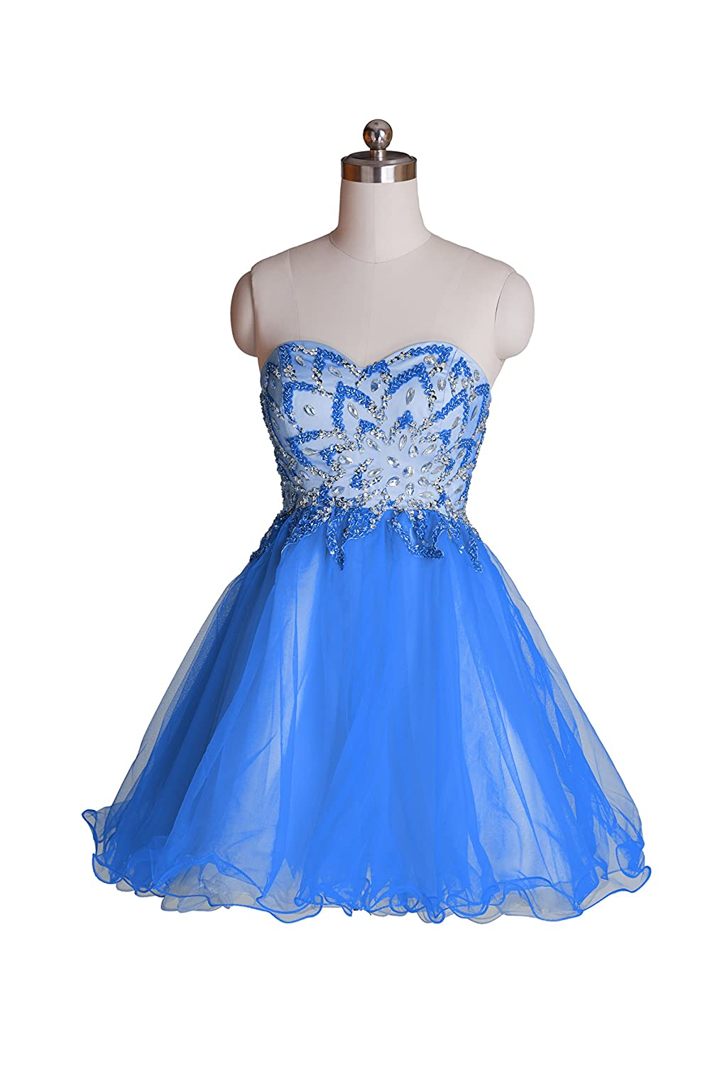 Queenworld Women's Evening Homecoming Prom Party Cocktail Dress US-20W Blue