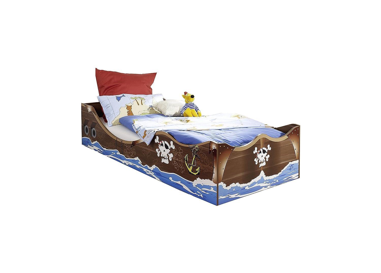 Kinderbett Pirat 90200 cm braun kernnuss GS-geprüft Jungen Jugendzimmer Kinderzimmer Seeräuber Bett Bettliege Jungenbett Piratenbett