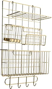 AmazonBasics Wall Wire Grid Panel, 6-Piece Set, Gold