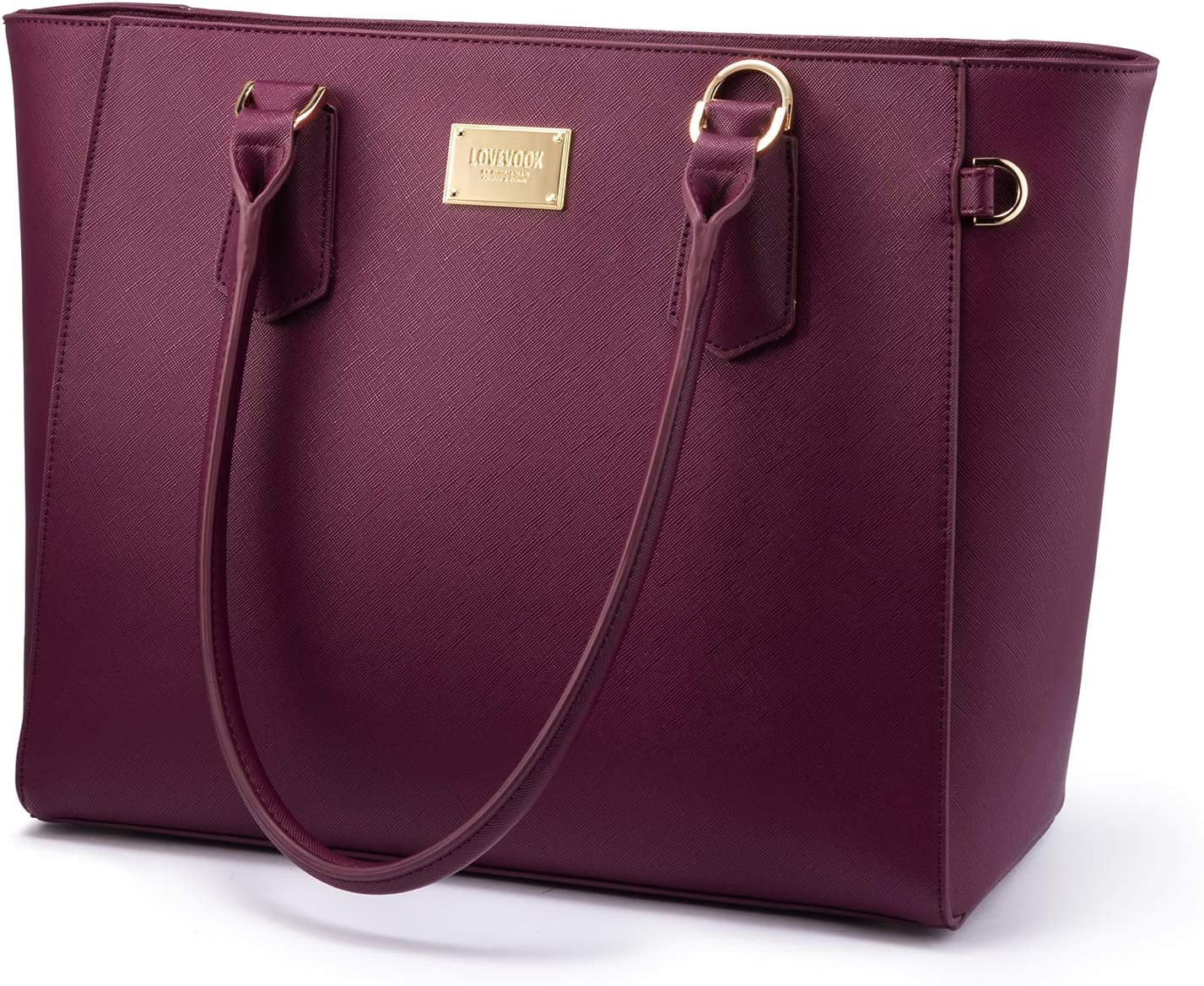 LOVEVOOK Laptop Bag for Women Leather Computer Bag Classic Work Purse, Full Padded Compartment, 15.6-Inch, Deep Plum
