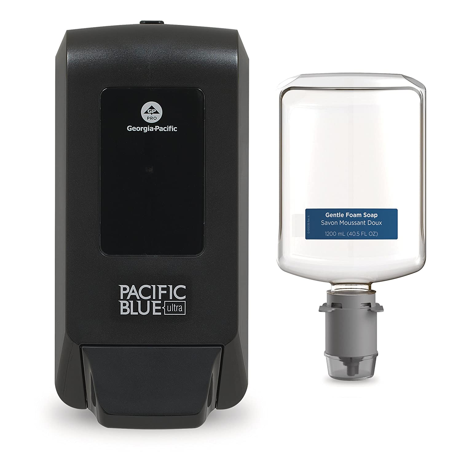 Pacific Blue Ultra Manual Soap Dispenser Trial Kit by GP PRO (Georgia-Pacific), Black, Refill 5305714, [Contains 1 Dispenser (53057) and 1 Soap (43714)]