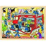Goki - 2041639 - Puzzle En Bois À Encastrement - Lutte Contre L'incendie - 48 Pièces
