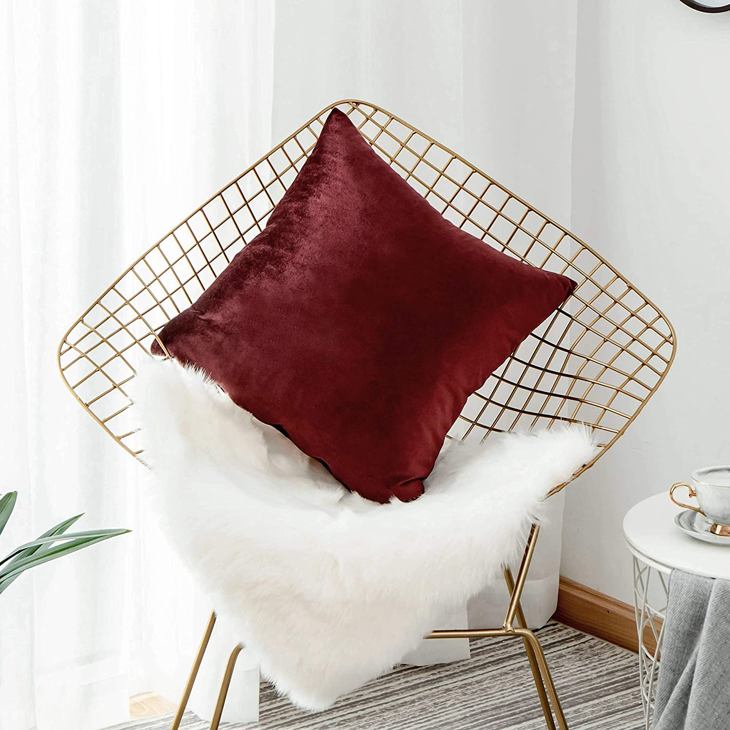 Home Brilliant Christmas Decorations Velvet Big Pillows for Bed Euro Pillow Sham Pillowcase for Sofa Living Room, 26 x 26 Inch(66cm), Dark Brick Red