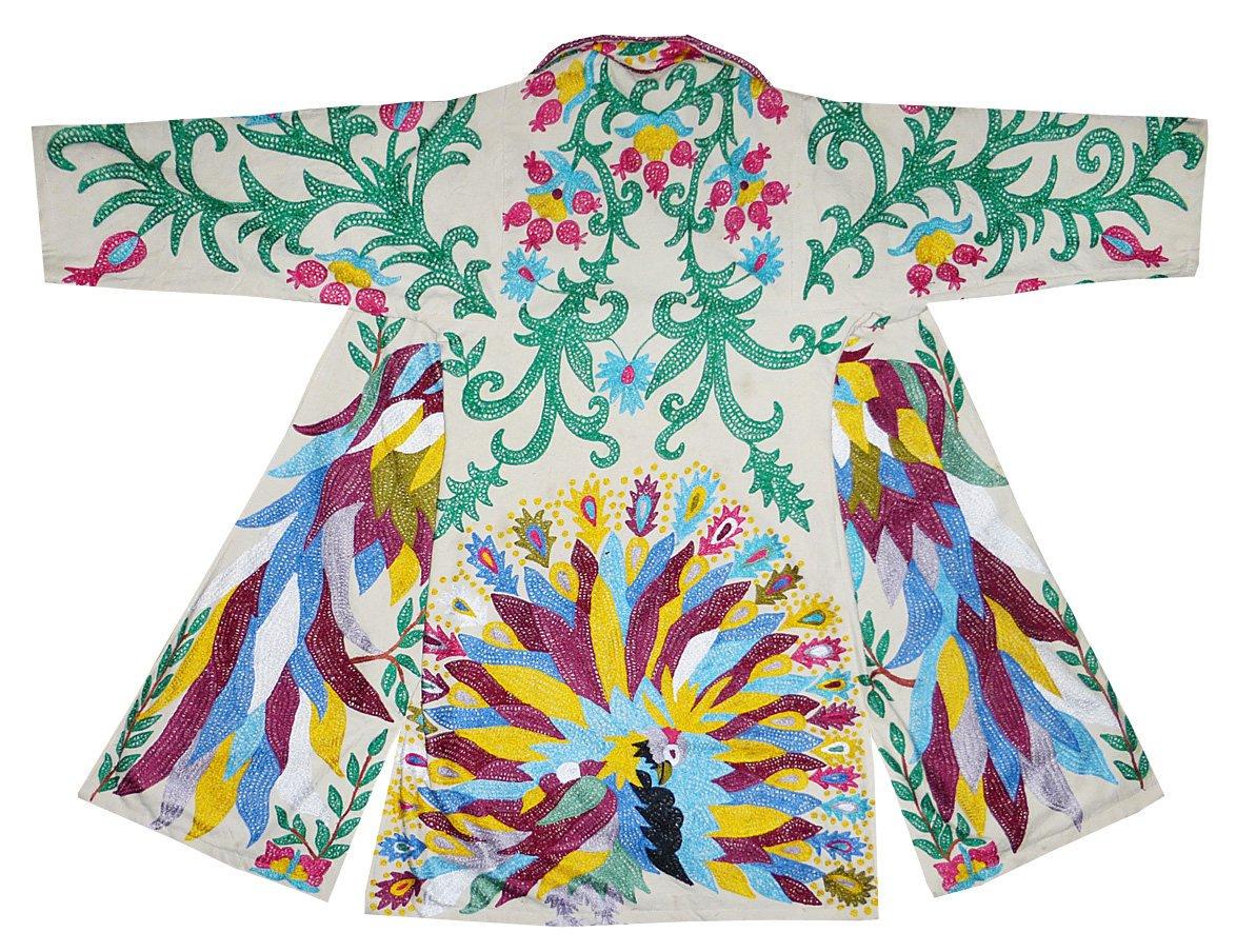 colorful birds Uzbek traditional Bukhara outwear costume kaftan caftan robe jacket coat unisex silk embroidered B1409