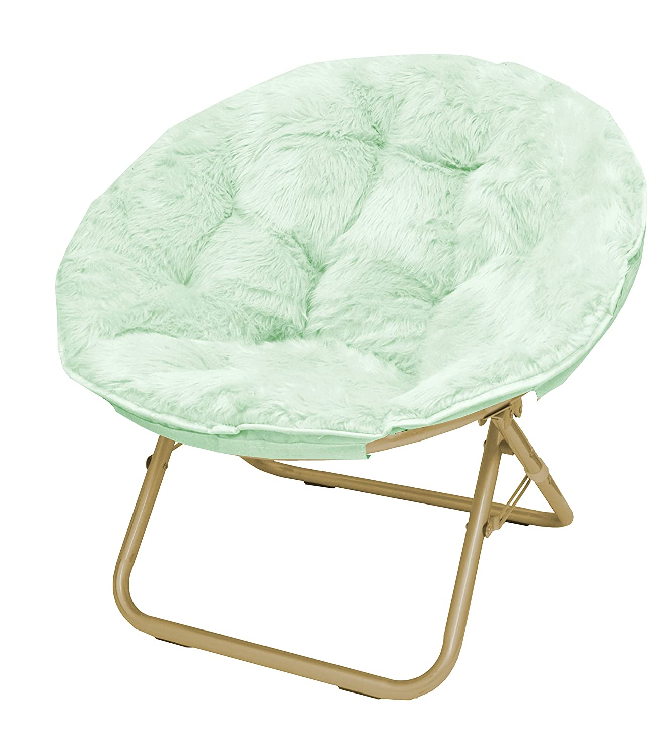 Urban Shop Faux Fur Saucer Chair with Metal Frame, One Size, Mint