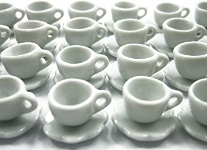 20 White Coffee Cup /& 20 Saucer Dollhouse Miniatures Ceramic Food Kitchenware