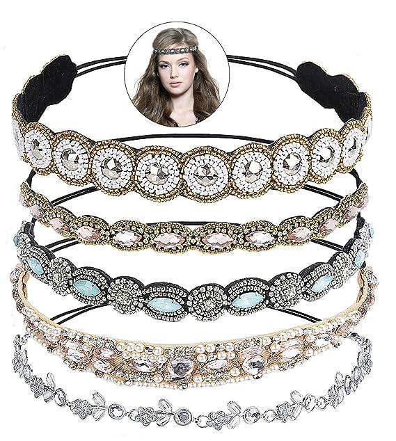2020 Charm Crystal Soft Headband Women Rhinestone Bead Hair Accessories Headwear
