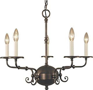 "product image for Framburg 2375 SBR 5-Light Jamestown Dining Chandelier, 92"" x 25.5"" x 20"", Siena Bronze"