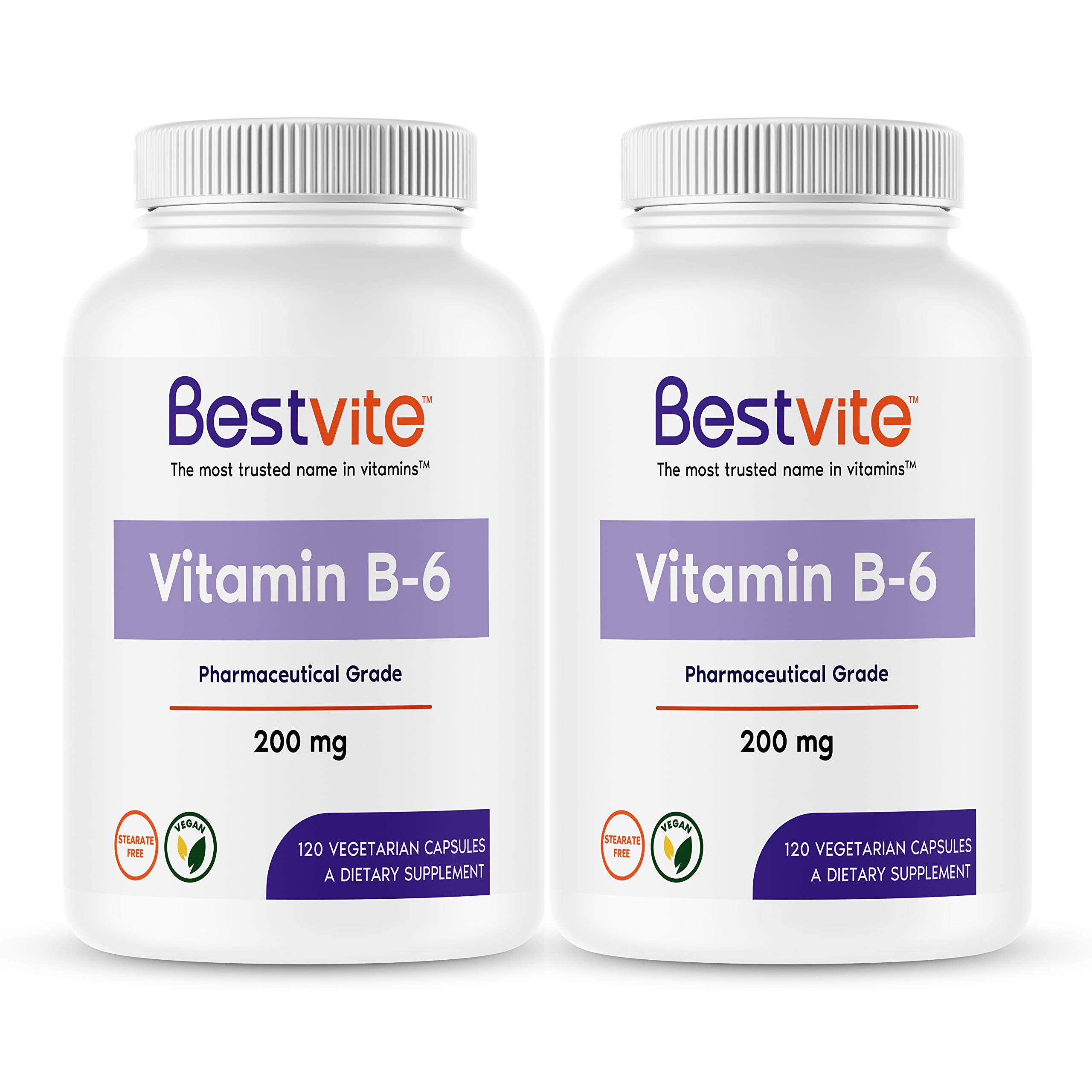 Vitamin B-6 200mg (240 Vegetarian Capsules) (2-Pack) - No Stearates - No Flow Agents