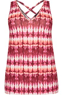 Yours Clothing Women/'s Plus Size Pink Tie Dye Cross Back Vest