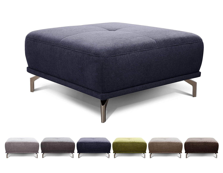 CAVADORE XXL-Hocker Carly / Polsterhocker, Fußbank für Wohnzimmer passend zum Ecksofa Carly / 91 x 45 x 91 / Webstoff blau