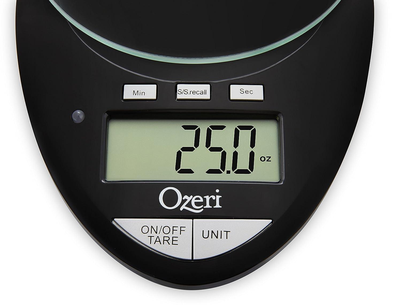 Ozeri Bilancia digitale da cucina Pro II con timer Nero capacit/à da 1 g a 5 kg