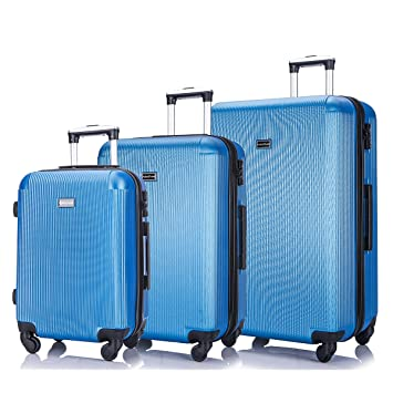 3d999ba2433a 3 PC Luggage Set Durable Lightweight Hard Case pinner Suitecase  -LUG3-LY71-BLUE