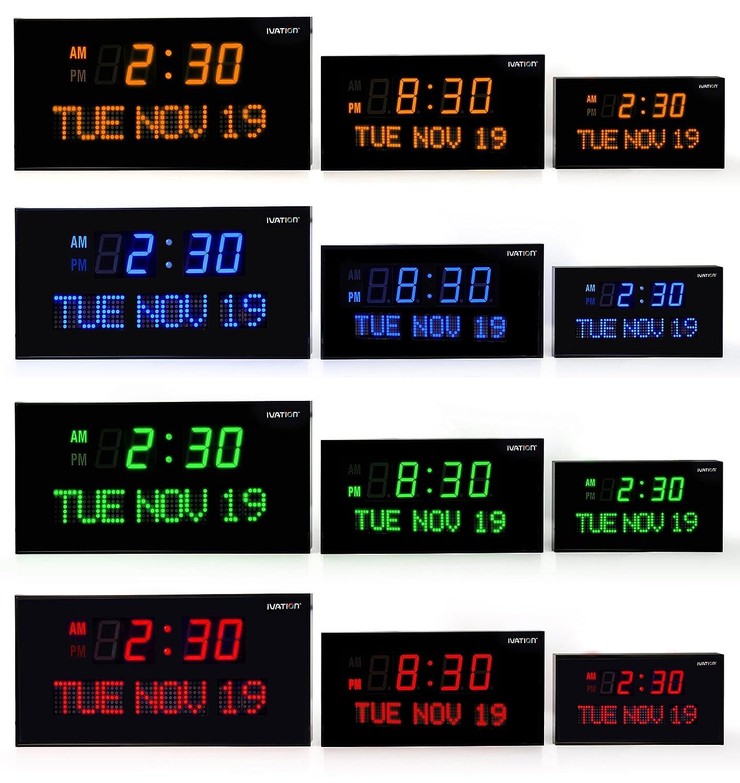 Amazon ivation big oversized digital blue led calendar clock amazon ivation big oversized digital blue led calendar clock with day and date shelf or wall mount 22 inches red led electronics amipublicfo Images