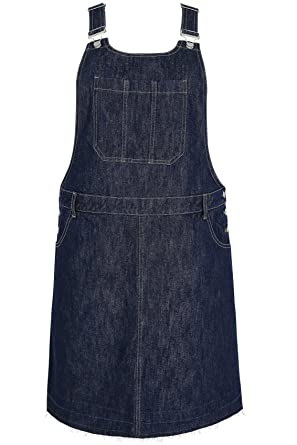 68b4b20897b Yours Women s Plus Size Indigo Denim Dungaree Pinafore Dress Front Pocket  Plus Si Size 30-