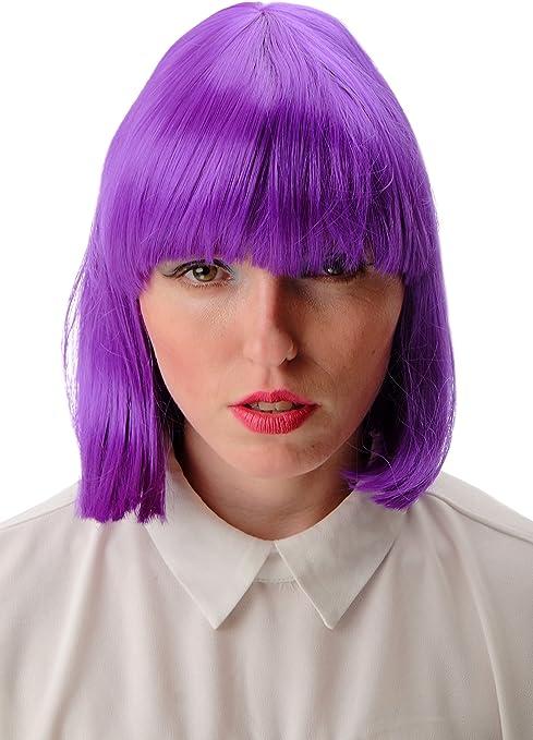 WIG ME UP- GFW673-F11 peluca de mujer cosplay pelo corto liso Bob largo flequillo lila disco: Amazon.es: Belleza