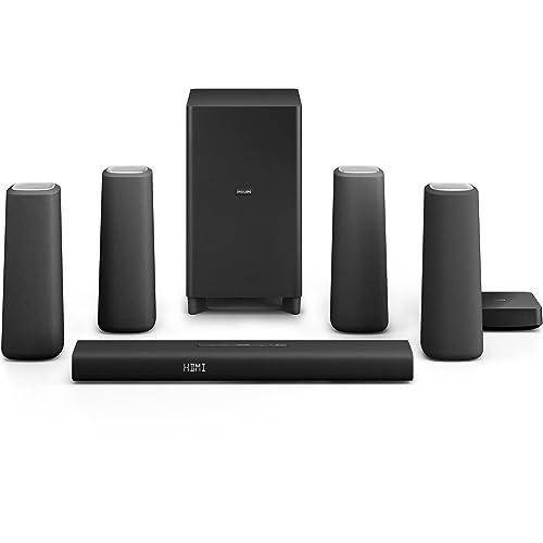 Philips Zenit Home Cinéma 5.1 avec Bluetooth & NFC, HDMI ARC, caisson de basses et enceintes arrières sans fil, 420W, Noir/Bois