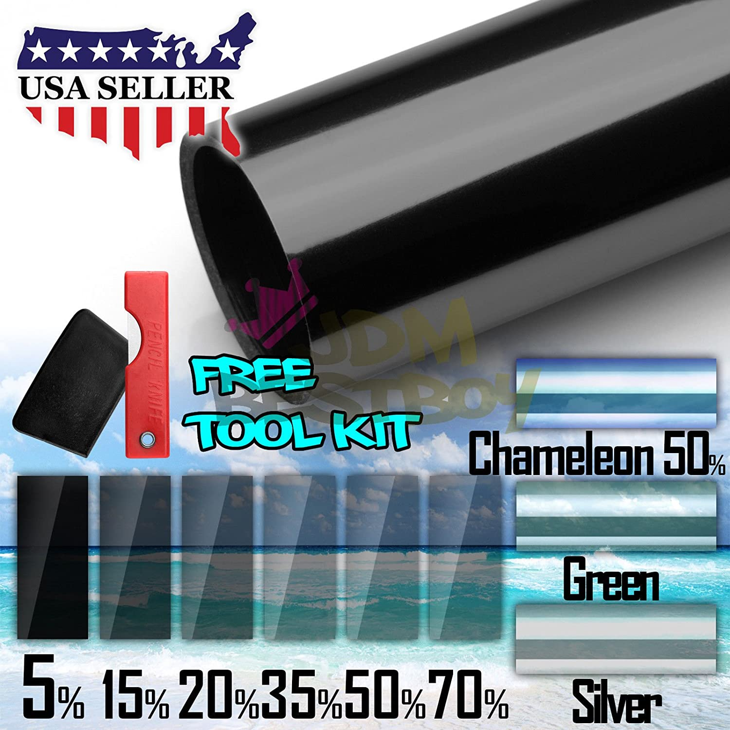 JDMBESTBOY Free Tool Kit 20'x120' Uncut Roll Window Charcoal Black VLT 70% Tint Film Car Glass Office Home Security
