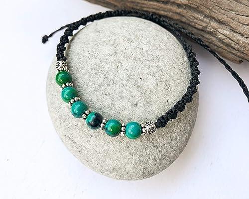 Eilat stone rainbow macrame bracelet anklet gemstone boho jewelry reiki chakra energy protection crystal stone beautiful goddess queen gems