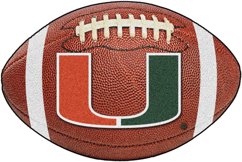"FANMATS NCAA University of Miami Hurricanes Nylon Face Football Rug,Multi,22""x35"""
