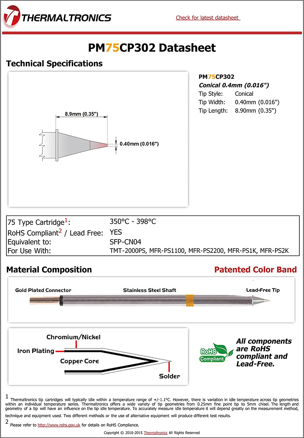 0.016in Thermaltronics PM75CP302 Conical 0.4mm interchangeable for Metcal SFP-CN04