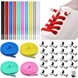 10 Pairs No Tie Elastic Shoelaces Elastic Silicone Shoe Laces with 40 Pieces Metal Clips Comfortable Stretch Fit for Adults K