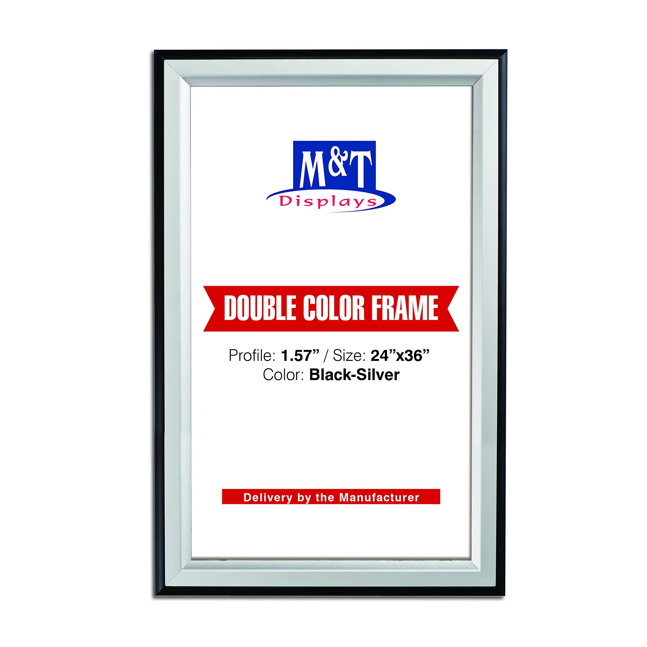 M&T Displays Double Color Snap Frame, Black-Silver Color Profile, Mitered Corner, 24X36 Poster Size, Front Loading