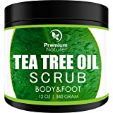 Tea Tree Oil Body Scrub - 12 oz 100% Natural Body & Foot Scrub - Best Antibacterial Antifungal Exfoliator with Dead Sea…