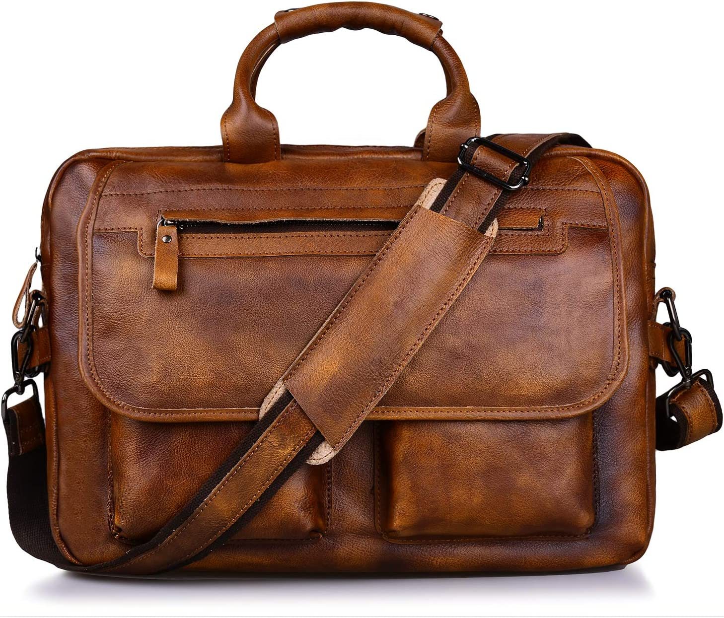 Jack/&Chris Mens Handmade Leather Briefcase Laptop Bag Messenger Shoulder Bag,NM1862-90