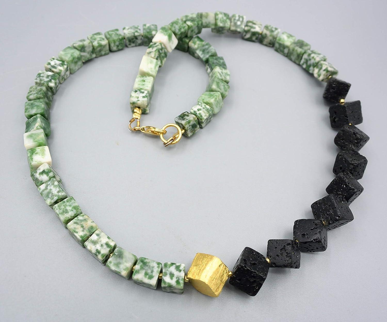 Lava Achat Kette - Baumachat Kette - Würfel Kette - Damenkette