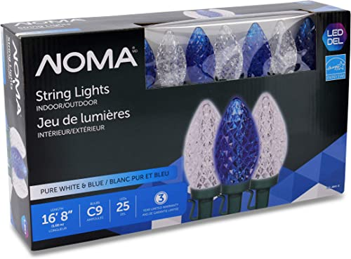 NOMA LED Christmas Lights 25-Count C9 Blue and Clear Pure White Bulbs 16 8 String Light UL Certified Outdoor Indoor