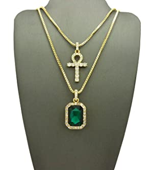 ICED OUT ANKH CROSS & GREEN STONE PENDANT & BOX CHAINS NECKLACE SET - RC2105GGN