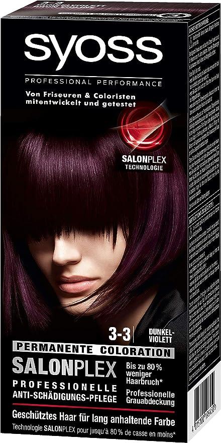 syoss 3 – 3 oscuro púrpura color del pelo (3 unidades, X 115 ml)