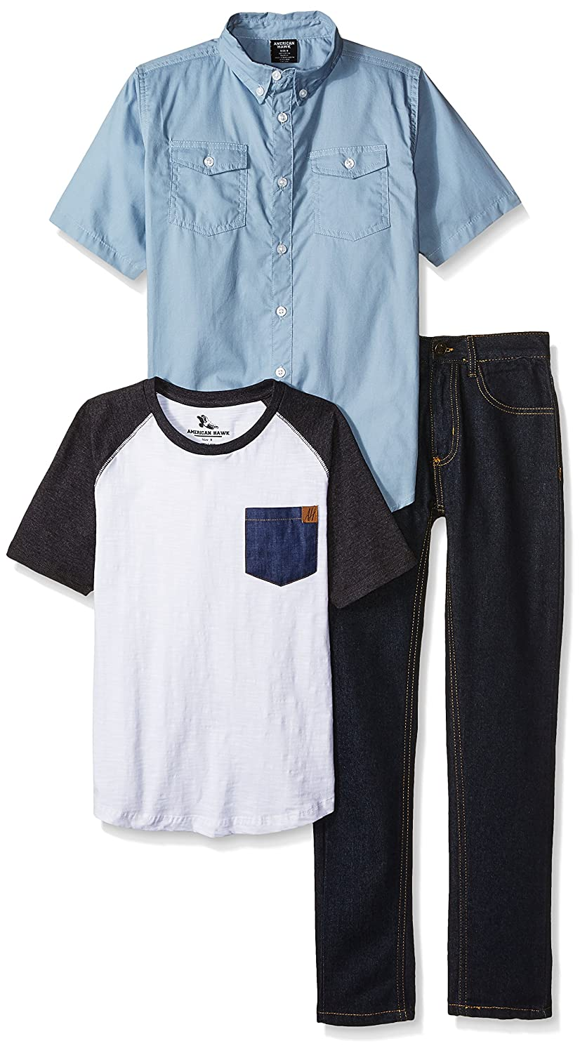 American Hawk Boys' Short Sleeve, T-Shirt and Pant Set (More Styles) SJ63_1