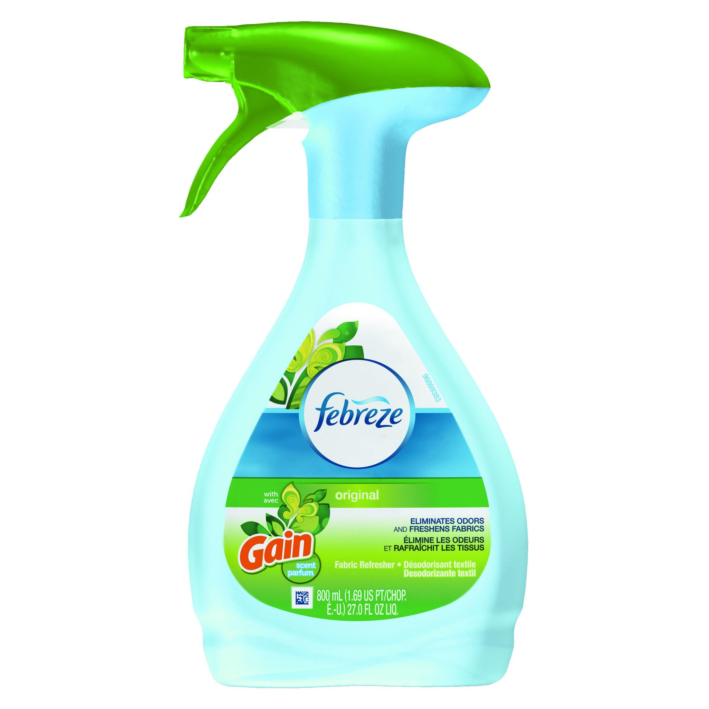 Febreze 47804CT Fabric Refresher & Odor Eliminator, Gain Original, 27 oz Spray Bottle (Case of 6) by Febreze