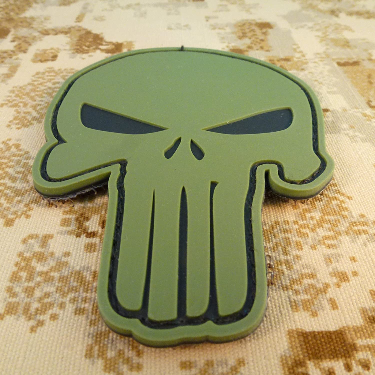 2AFTER1 Olive Drab OD Punisher Skull PVC 3D Rubber DEVGRU Army Touch