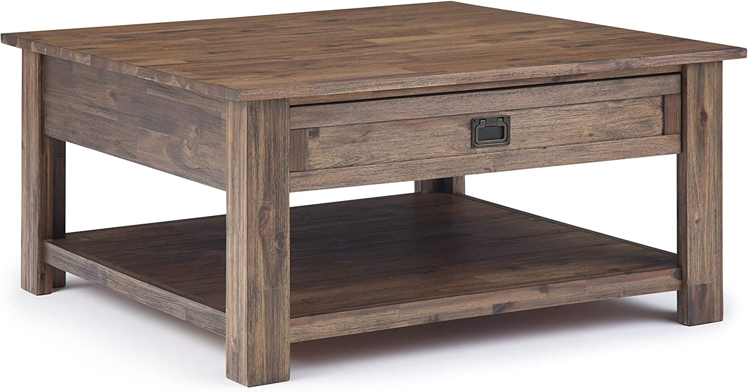 SIMPLIHOME Monroe SOLID ACACIA WOOD 38 inch Wide Square Rustic Contemporary Coffee Table in Rustic Natural Aged Brown, for the Living Room and Family Room