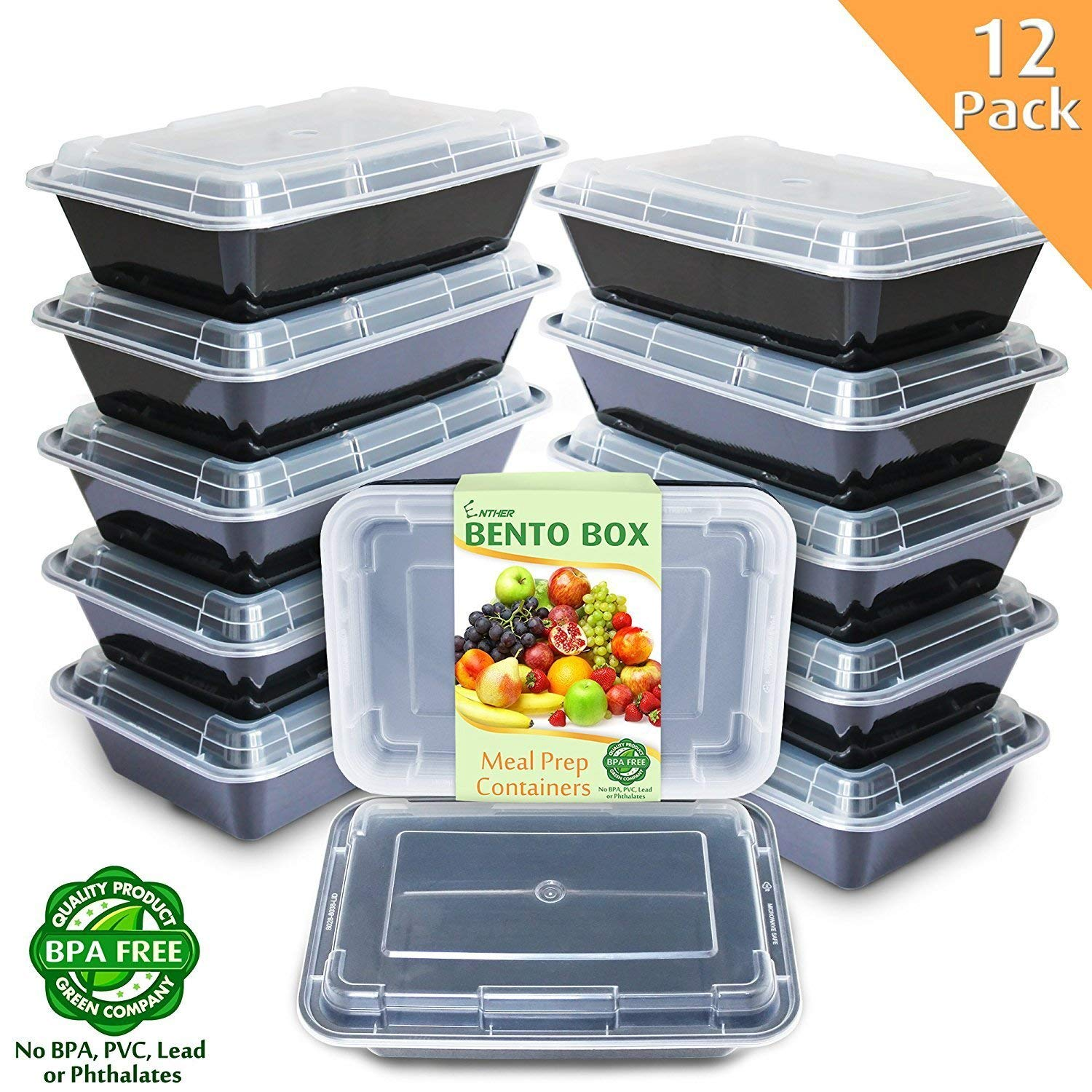 Enther Meal Prep Containers [12 Pack] Single 1 Compartment with Lids, Food Storage Bento Box | BPA Free | Stackable | Reusable Lunch Boxes