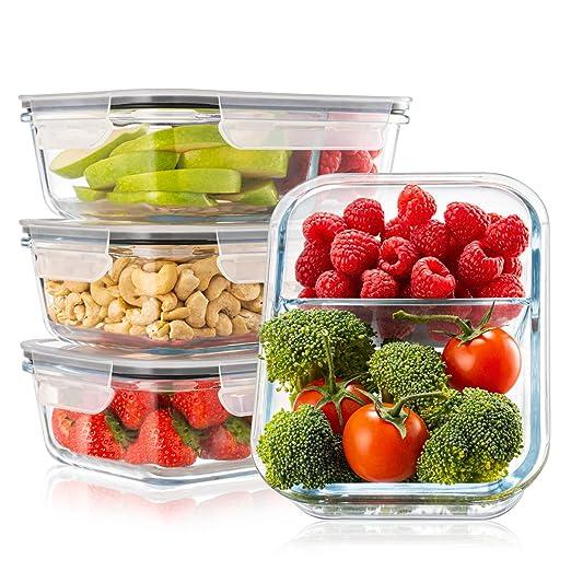 Pack 4 Recipientes de Cristal para Alimentos, 2 Compartimentos ...