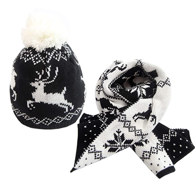 Beanie Hat Scarf Set Winter Snowflake Deer Knit Gift for Baby Boys Girls by  MissShorthair 090755ae9032