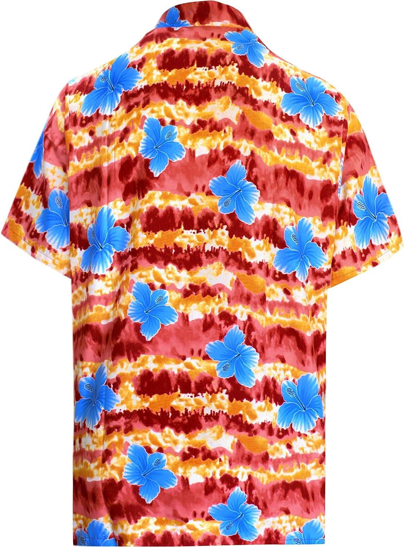 LA LEELA Casual Hawaiana Camisa para Hombre Señores Manga Corta Bolsillo Delantero Surf Palmeras Caballeros Playa Aloha 6XL-(in cms): 172-178 Blood Rojo_W328: Amazon.es: Ropa y accesorios