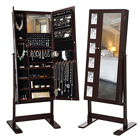 Amazon.com: SONGMICS 18 LEDs Jewelry Cabinet Mirrored Standing ...