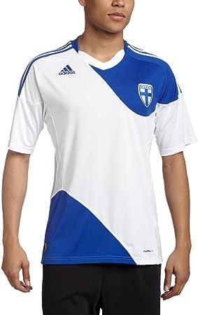 Adidas Finlandia casa fútbol Jersey, Hombre, White/Cobalt